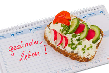 nutritional: bread with vegetables and a calendar