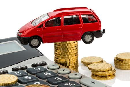 car, coins and calculator photo