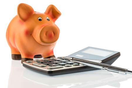 statement: a pen is on a calculator beside a piggy bank