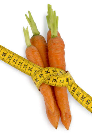 organically grown carrots with tape Stock Photo