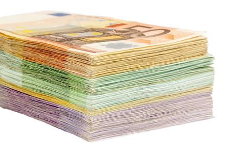billets euros: Euro factures piles