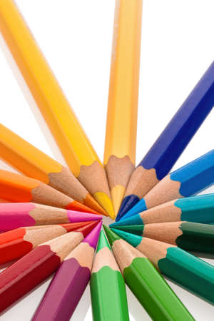 stationery needs: several colorful crayons on a white background