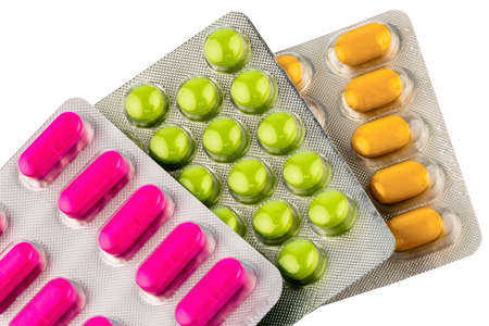 therapie: colorful tablets in blister packs, icon photo for remedies and health Stock Photo