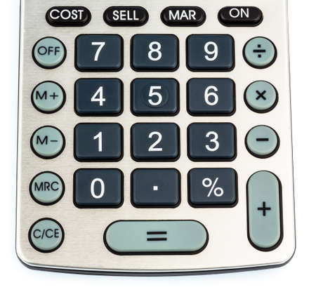 mathematically: a calculator lying on a white background Stock Photo