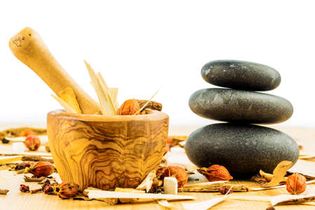 tcm: ingredients for a tea in traditional chinese medicine. healing of diseases through alternative methods. Stock Photo