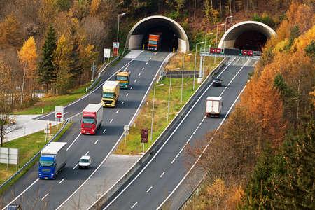 tauern: traffic on the tauern motorway in salzburg, austria Stock Photo