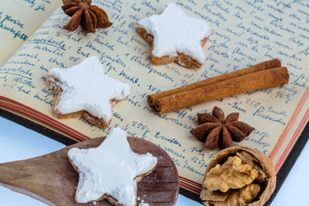 cookie cutter: ingredients for cookies and biscuits that are baked for christmas. Stock Photo