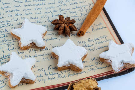 ingredients for cookies and biscuits that are baked for christmas. photo