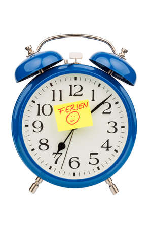 arouse: insights with a sticky note with the inscription holiday on the dial. Stock Photo