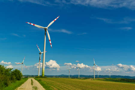 wind power plant: wind turbine of a wind power plant. production of alternative and sustainable energy for power generation Stock Photo