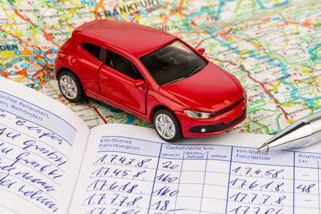 mileage: log book for a car. for commuters and tax office. Stock Photo