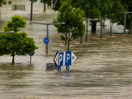 overflows: flood of 2013. linz, austria. overflows and flooding