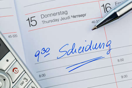rejection sad: a date is entered in a calendar: divorce Stock Photo