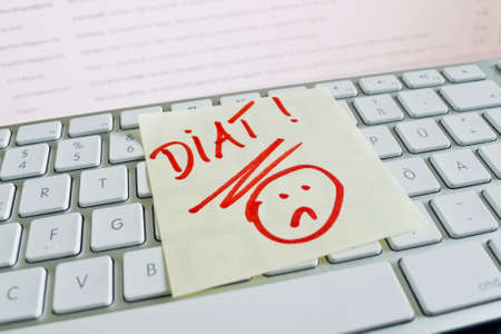 thinness: a sticky note on the keyboard of a computer is to remember: diet