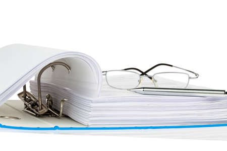 a file folder with documents and documents. retention of contracts. Stock Photo