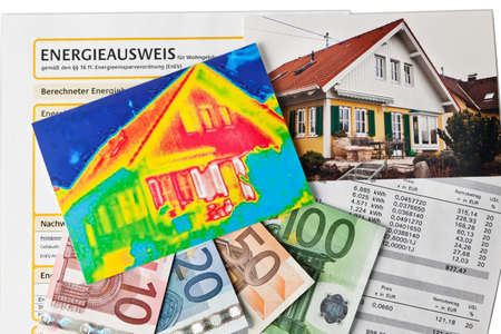 thermography: a house wuurde photographed by an infrared camera. loss of energy when heating due to poor insulation