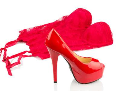 Rode hoge hakken en ondergoed, symbool foto voor mode, erotische en fetisj Stockfoto - 24002363