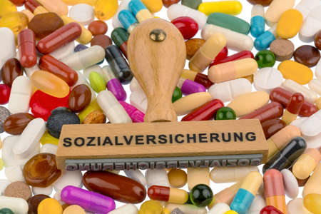supplementary: stamp on colorful tablets, symbolfot for social security, drugs and reimbursement