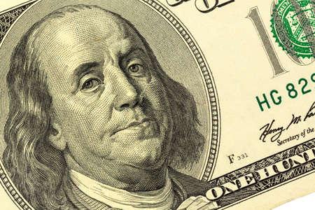 benjamin franklin: hundred dollar bill with a portrait of benjamin franklin