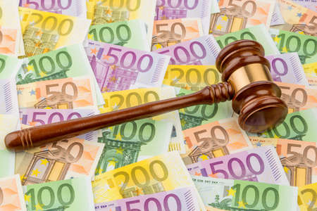 legislator: judge gavel and euro banknotes. symbolic photo for costs in court of law and auctions Stock Photo