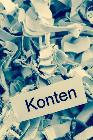 paper shredder: shredded paper tagged with accounts, symbol photo for finance, accounting and double-entry bookkeeping