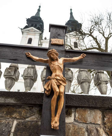 torment: jesus christ on the cross. symbolic photo for good friday, easter and resurrection. linz, upper austria, poestlingberg Stock Photo