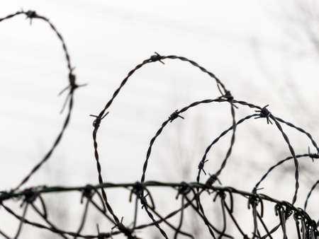 emigrant: a fence is secured with barbed wire. symbolic photo for security, prison and crime. Stock Photo