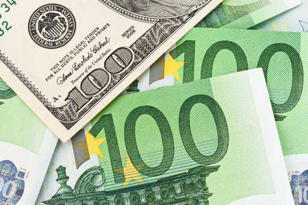Dollar And Euro Bills Euro Dollar Symbol Differences Stock Photo
