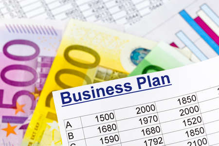 existence: a business plan for starting a business. ideas and strategies for self-employment. euro banknotes.