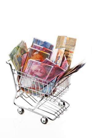 swiss franc: swiss franc money bills in a basket