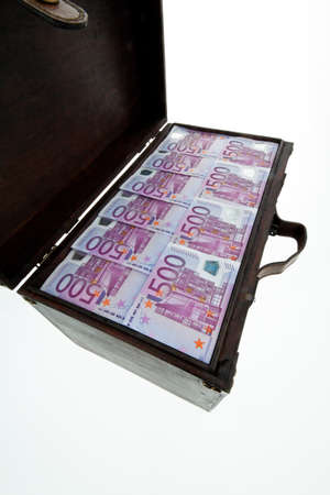 a large chest with euro banknotes. financial crisis, crisis, debt. Stock Photo - 25223896