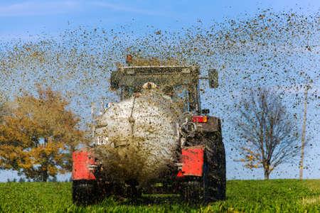 fertilizer: a tractor with manure fertilizes a field in autumn