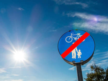 sign for bike path and walkway. impact on road traffic photo