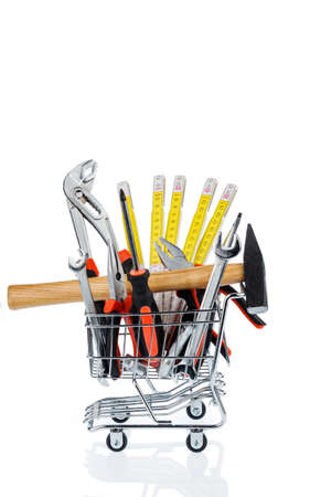 hand tool in a shopping cart icon photo for crafts, tools and materials procurement photo