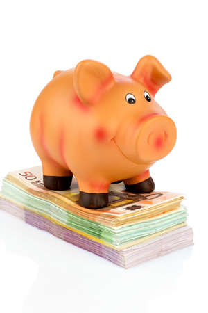 profitability: a piggy bank standing on banknotes, symbolic photo for economy, profitability, return on Stock Photo