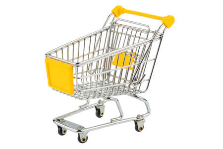 grocers: an empty shopping cart on white background. symbolic photo for shopping
