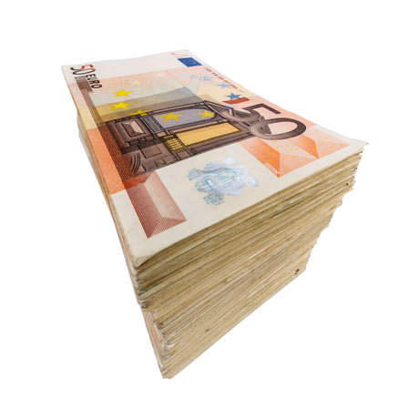 expenditure: stack of many fifty euro banknotes. symbolic photo for money, wealth, income and expenditure