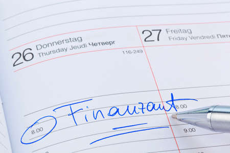 auditors: a date is entered on a calendar: finance office