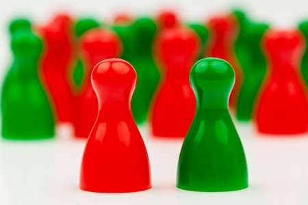 coalition: red and green pawns. coalition government between red and green.