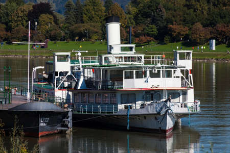 linz: the capital of upper austria in austria is linz. an old steam boat on the danube Stock Photo