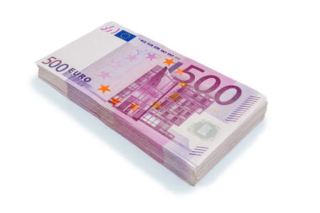 expenditure: many of five hundred euro banknotes. symbolic photo for wealth and investment Stock Photo