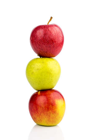 free weight: several apples on a white background. symbolic photo for diet and healthy, vitamin-rich diet. Stock Photo