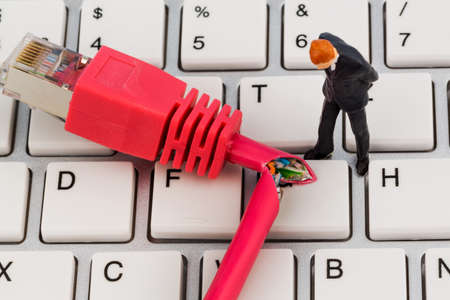 workers, network connector, keyboard, symbol photo for internet failure, maintenance, problem solving, Stock Photo - 25586876