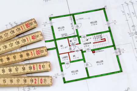 draftsman: an architects blueprint for the construction of a new residential house. symbolic photo for funding and planning of a new house. Stock Photo