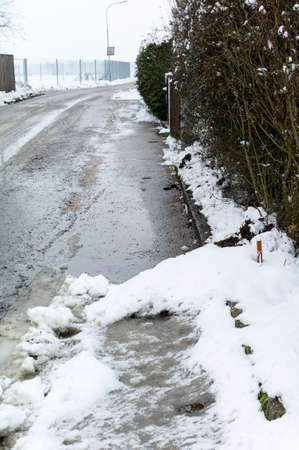 landowners: snow on sidewalk and street, symbol for accident risk and photo r?umpflicht