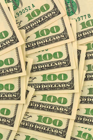 money pile: many american dollar bills. symbolic photo for debts and wealth Stock Photo