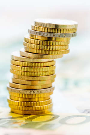 investment risk: single stack of coins, symbolic photo for financial planning, investment, investment risk