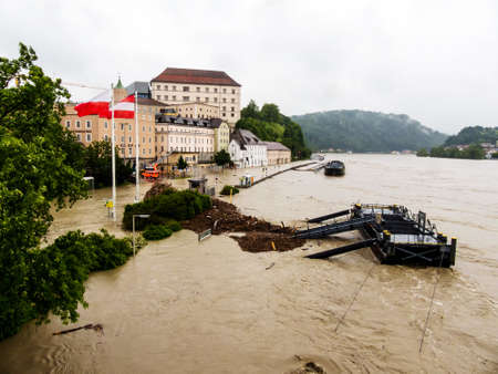 immobilien: flood of 2013. linz, austria. inundation and flooding.