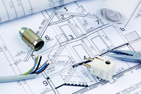 an architects blueprint for the construction of a new residential house. symbolic photo for funding and planning of a new house. Stock Photo