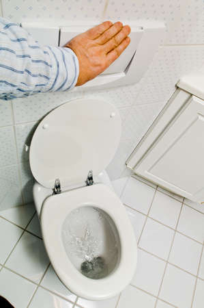 hygienic: a hygienic flush toilet in a household. bathroom and toilet